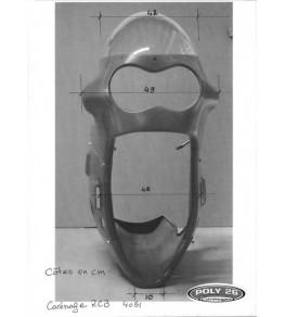 Carénage en 4 parties RCB Réplica vue de face avec dimensions