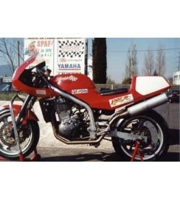 Tête de fourche MZ Skorpion sur moto complète