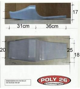 Selle / Coque monoplace arrière 500 GP côtes et dimensions
