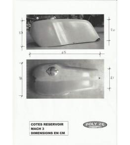 Cache réservoir polyester type Mach 3 côtes et dimensions