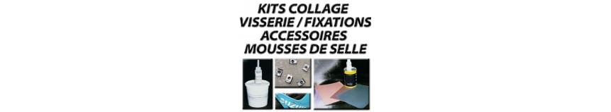 Accessoires divers pour polys, kit fixation, kit collage, écrous à coller, visserie, mousses de selle