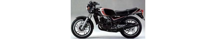 Carénages en polyester pour Yamaha 350 RDLC de 1980 4LO, tête de fourche / saute vent, sabot moteur coupe origine